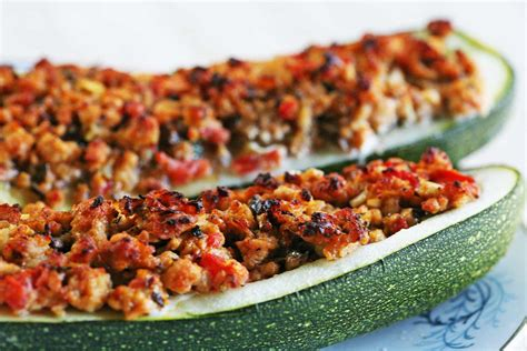 italian stuffed zucchini boats with ground beef tomatoes mozzarella stuffed zucchini