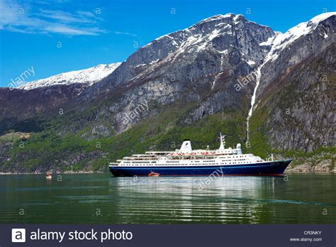 norway europe cruiseship marco polo in eidfjord hardangerfjord norway