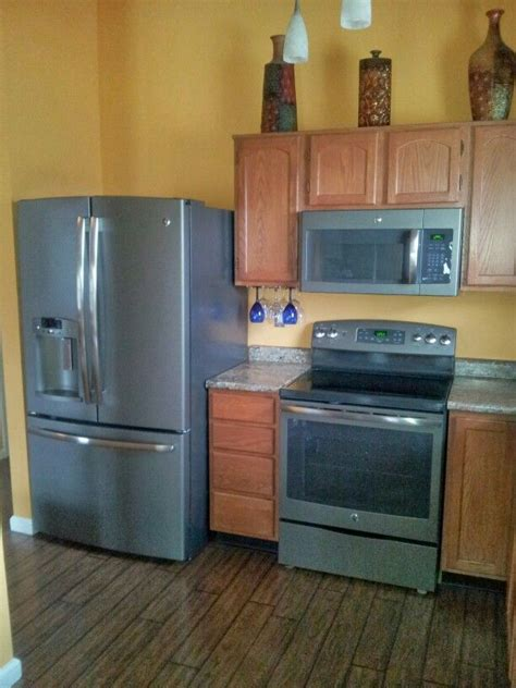 my kitchen with ge slate appliances our home ideas slate appliances slate and