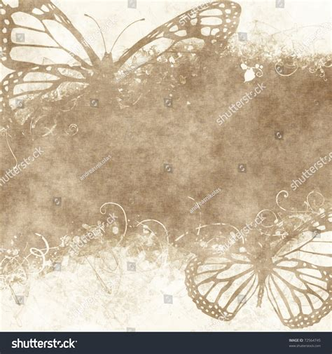 floral grunge illustration with butterflies on parchment paper with floral pattern