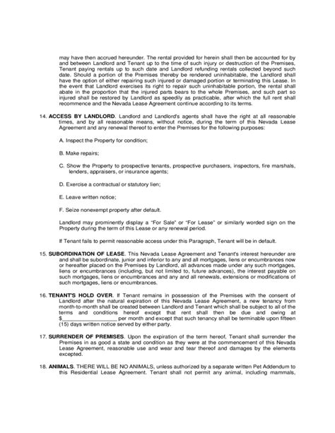 Nevada Residential Lease Agreement Form Free Download Nevada Residential Lease Agreement Template