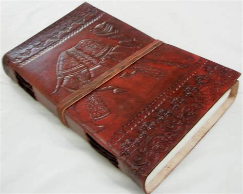 Handmade Writing Journals - handmade leather journal camel embossed vintage diary