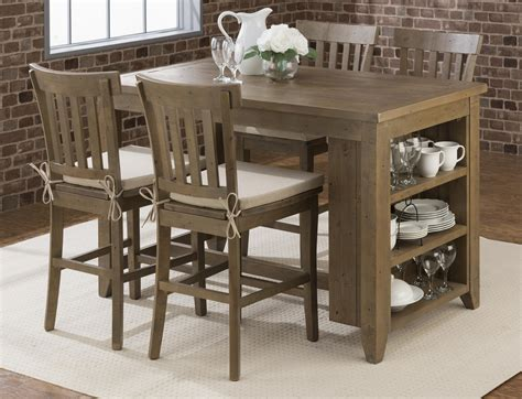 Counter Height Table And Stools Set by Jofran Somis Counter Height Storage Table With Stool Set