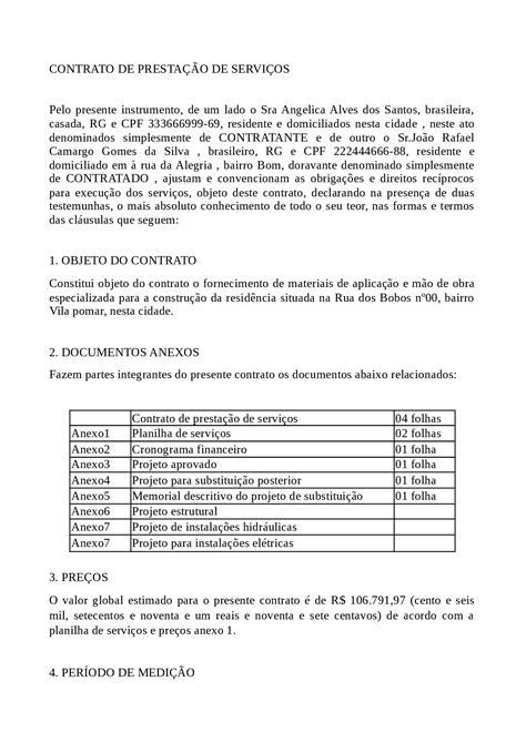 Contrato de Prestação de Serviços - Exemplo de itens que