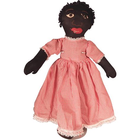 m s rag doll as a button vintage black rag doll from dodobirddolls