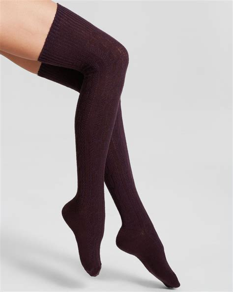 cable knit the knee socks hue chunky cable knit the knee socks in purple lyst