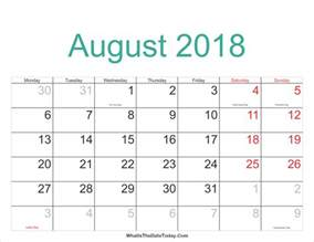 Calendar 2018 Federal Holidays August 2018 Calendar Printable With Holidays