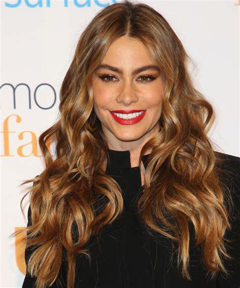 sofia vergara hair color sofia vergara long wavy casual hairstyle medium brunette