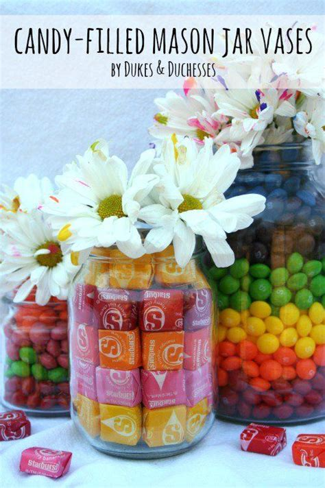candy filled mason jar vases jars simple centerpieces