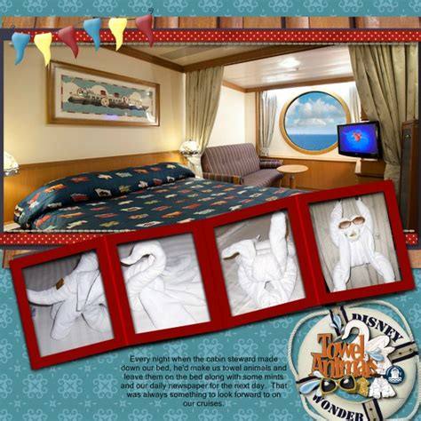 scrapbook layout ideas cruise towel animals 1 mousescrappers disney scrapbooking gallery