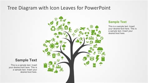 tree diagram template powerpoint tree tree diagram with icon leaves for powerpoint