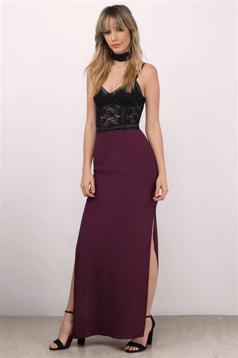 black skirt side slit skirt maxi skirt black