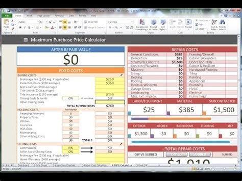 Real Estate Flip Spreadsheet by House Flipping Spreadsheet Template Anuvrat Info