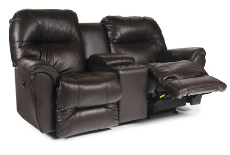 recliner loveseat leather bodie leather power rocker reclining loveseat w console