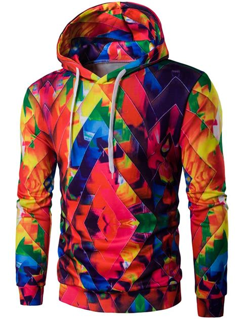 colorful clothes hoodies colorful drawstring zigzag graphic hoodie gamiss