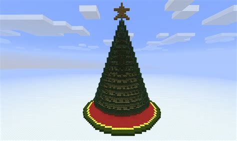 christmas tree red stone lit minecraft project