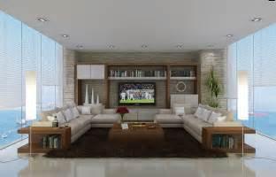Neutral living room l shaped sofas interior design ideas