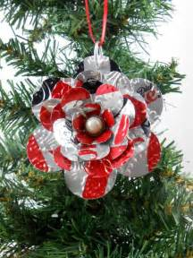 flower christmas ornament recycled soda pop can art