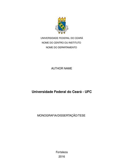 Modelo TCC Universidade Federal do Ceará - UFC - FastFormat