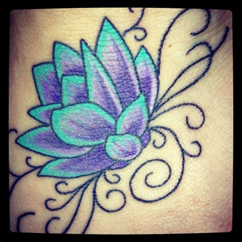 teal tattoo lotus flower teal purple tattoos