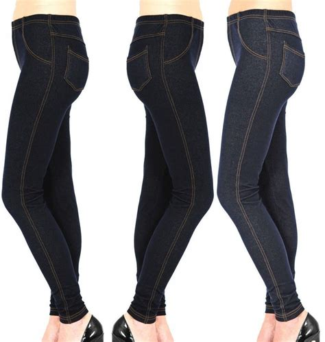 new womens stretchy denim look jeggings