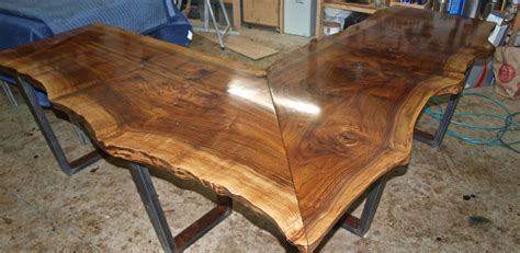 Buy a Custom Made Live Edge Walnut L Shaped Desk, made to