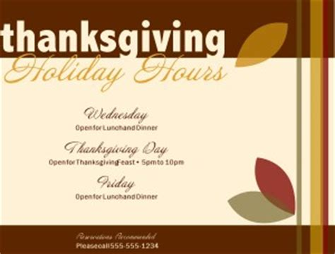 Thanksgiving Holiday Hours Flyer Thanksgiving Flyer Closure Flyer Template