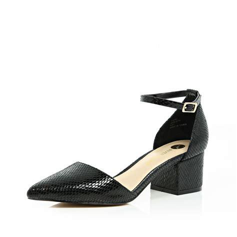 Block Heel Shoes lyst river island black block heel pointed shoes in black