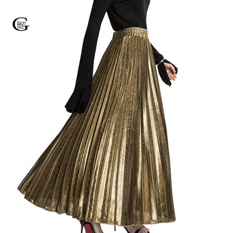 gold pattern skirt online buy wholesale silver pleated maxi skirt from china