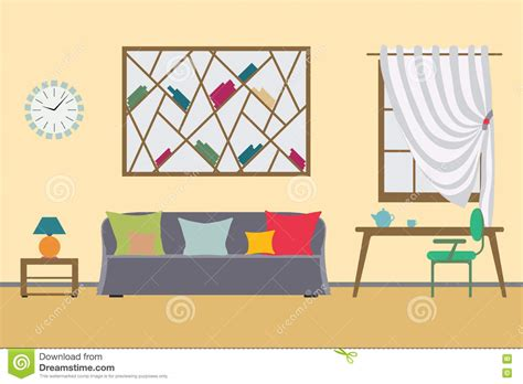 home interior vector home interior flat vector design workspace for freelancer and work relax stock vector image