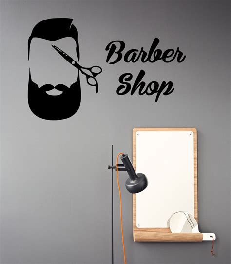 wall sticker shop barber shop wall decals scissors hair by decalmyhappyshop
