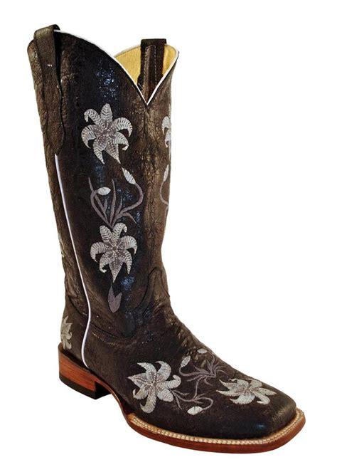ferrini western cowboy boots womens floral distressed