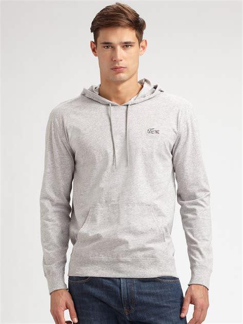 Hoodie Zipper Sweater Lacoste 1 lacoste hoodie in gray for lyst