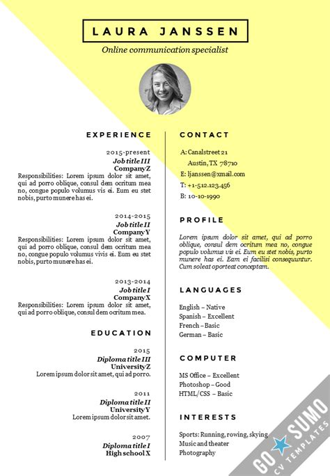 cv templates cv resume template stockholm