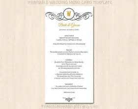 7 best images of printable wedding menu cards templates