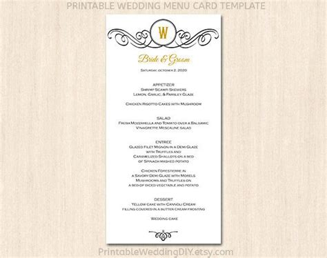 printable wedding menu template menu card template
