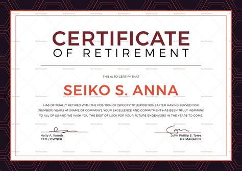 Retirement Certificate Templates by Retirement Certificate Design Template In Psd Word