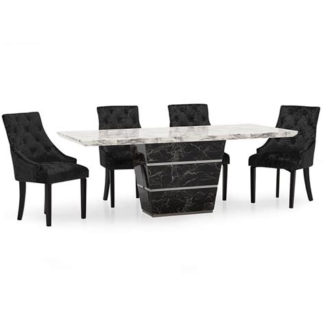 black and white marble dining table with 8 valdina black white marble 1 8m 7 dining table set wil valdina dt1 8 set 163 1 695 75