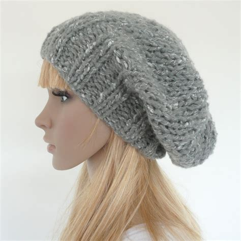 knit slouchy hat knit slouch hat gray slouch beret by sallyannaboutique