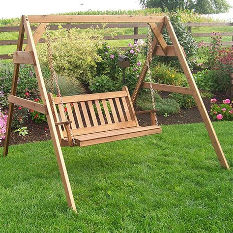 red cedar porch swing red cedar traditional english 4ft porch swing set
