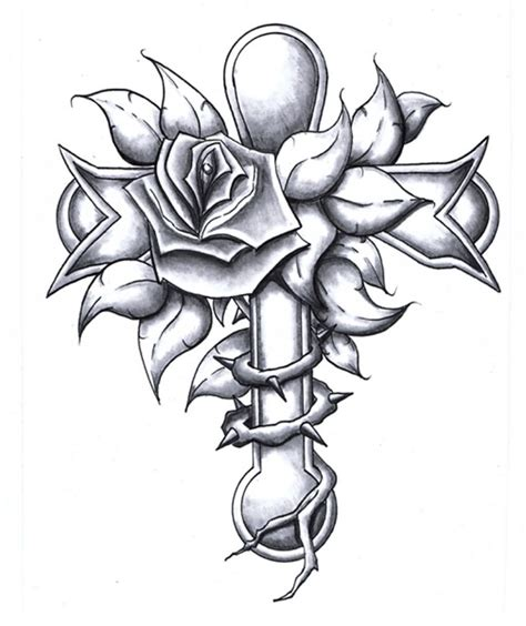 rose tattoo with cross grey flower and cross design