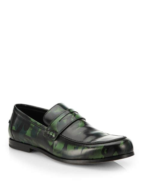 green loafers jimmy choo smooth leather camouflage loafer in green for