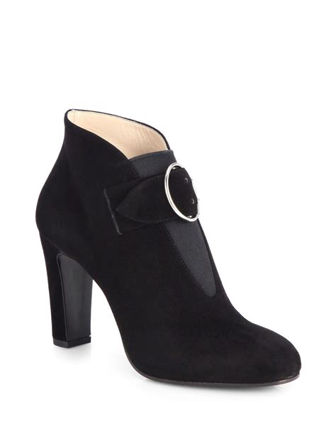 prada suede buckle ankle boots in black nero black lyst
