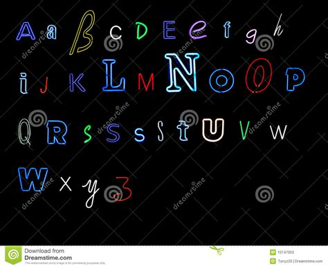 printable neon letters neon alphabet letters stock photos image 10747003
