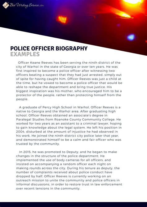 officer biography format police officer biography writing tips bio writing service