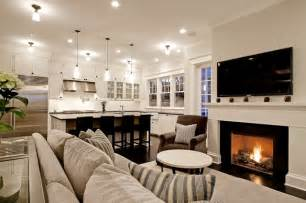 chic comfy cozy open living room kitchen design with gray
