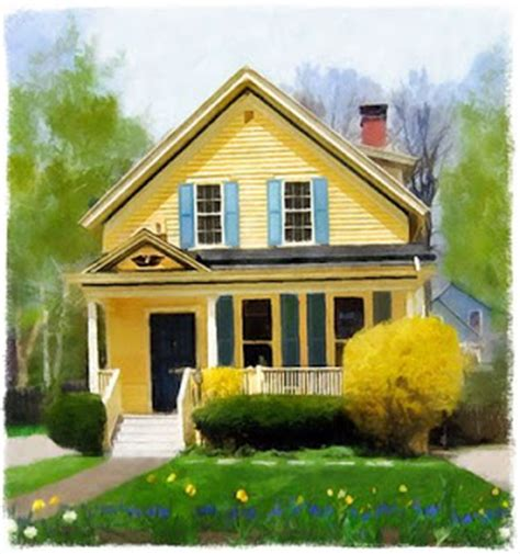 yellow house with blue door pink tulips a yellow house with a blue door