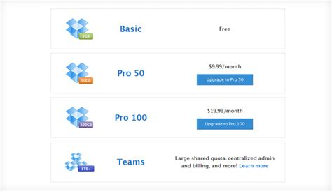 dropbox business pricing 20 best designed pricing comparison table exles