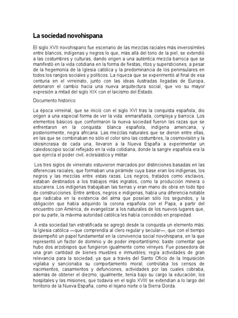 La Sociedad Novohispana | Nueva españa | Personas de raza
