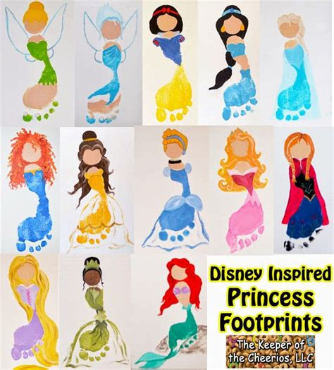 disney crafts for the keeper of the cheerios disney princess footprints for